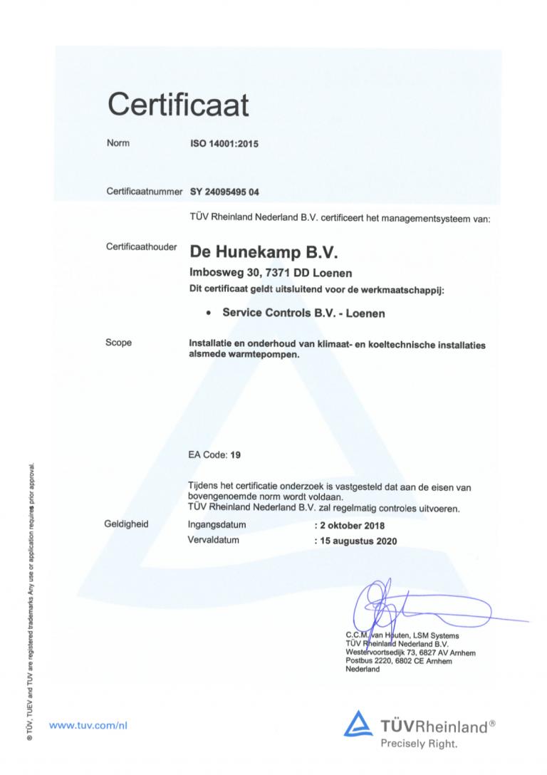 ISO 14001 certificaat Service Controls