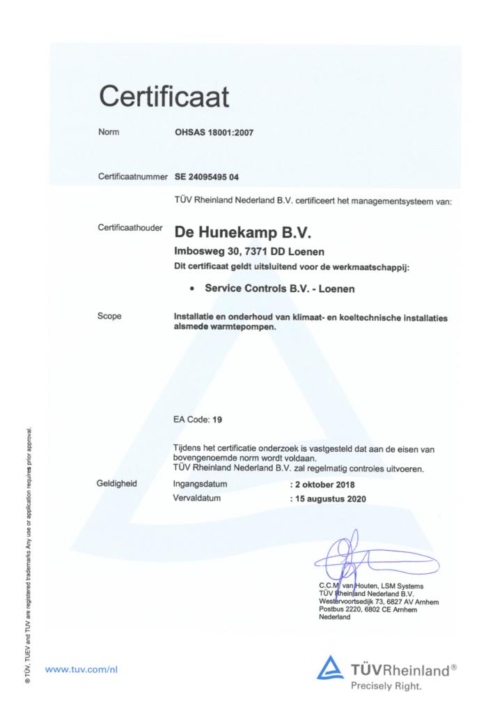 ISO OHSAS 18001 certificaat Service Controls