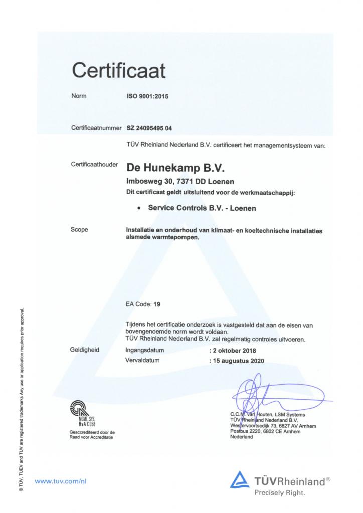 ISO 9001 certificaat Service Controls