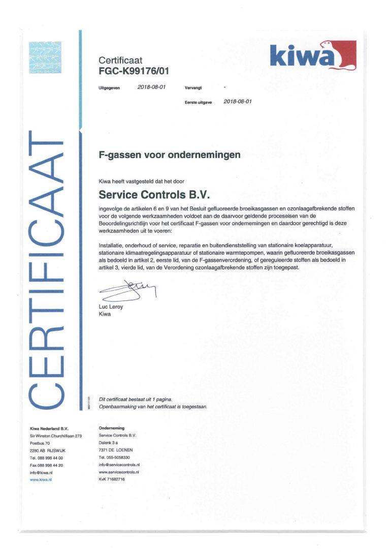 certificaat F-Gassen voor ondernemingen Service Controls